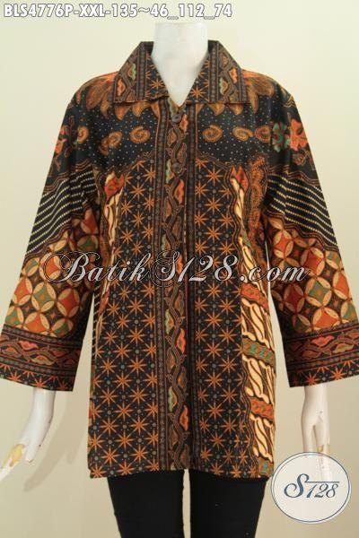 Batik Blus Klasik 3L, Pakaian Batik Kerah Kotak Istimewa Motif Sinaran Khas Jawa Tengah Proses Printing Harga 100 Ribuan, Size XXL