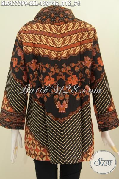 Baju Blus Wanita Gemuk Karir Aktif, Produk Baju Kerja Istimewa Buatan Solo Motif Sinaran Proses Printing, Size XXL