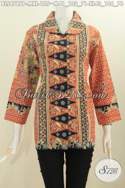 Baju Batik Printing Untuk Wanita Model Kerah Buat, Blus Batik Elegan Desain Mewah Bahan Halus Motif Berkelas Proses Printing Daleman Tanpa Furing, Size M – XL