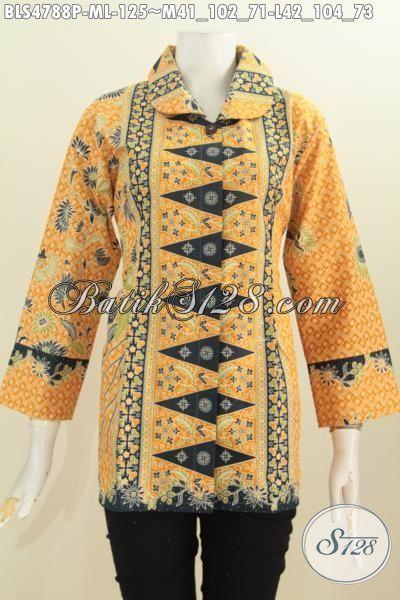 Baju Batik Motif Klasik Warna Kuning Kwalitas Istimewa, Produk Pakaian Batik Modern Proses Printing Modis Untuk Seragam Kerja, Size M – L