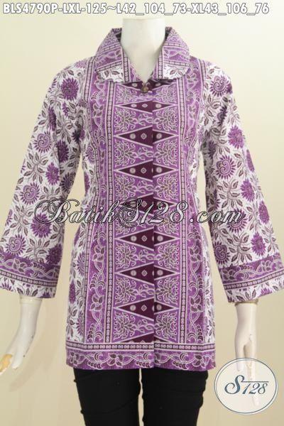 Pakaian Batik Modern Desain Istimewa Dan Berkelas, Baju Batik Wanita Muda Dan Dewasa Berbahan Halus Buatan Solo Proses Printing Harga 100 Ribuan [BLS4790P-L]