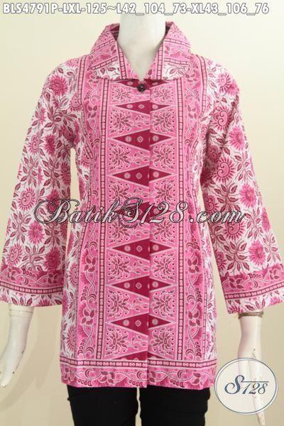 Batik Blus Halus Kwalitas Istimewa, Pakaian Batik Modis Warna Pink Motif Klasik Proses Printing Dengan Model Kerah Bulat Daleman Tidak Pakai Furing, Size L – XL