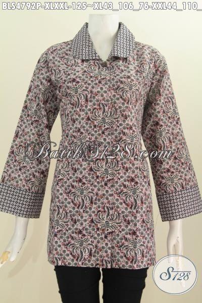 Pakaian Blus Batik Istimewa Model Kerah Bulat, Busana Batik Elegan Proses Printing Harga Murmer Kwalitas Mewah, Size XL – XXL