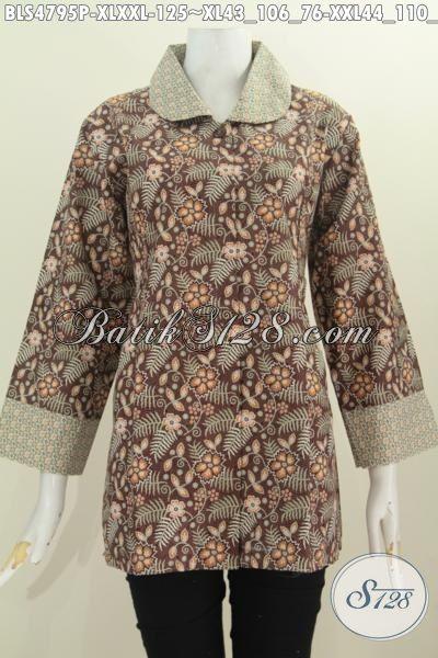 Busana Batik Terbaru Untuk Wanita Dewasa Karir Aktif, Produk Busana Batik Elegan Kerah Bulat Bahan Halus Motif Trendy Proses Printing Hanya 125K, Size XL – XXL