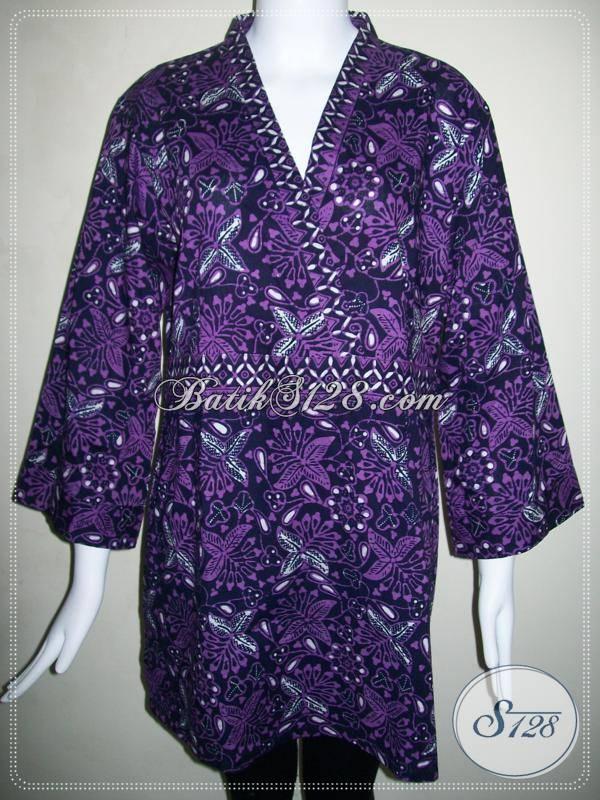 Batik Ungu Kombinasi Tulis Halus,Baju Batik Wanita Profesi Dokter