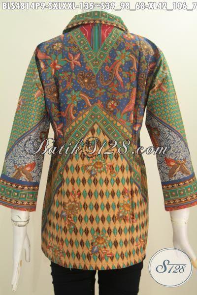 Blus Batik Klasik Lengan Tuju Perdelapan, Pakaian Batik Formal Wanita Karir Bahan Halus Proses Printing Motif Sinaran, Size S – XL – XXL