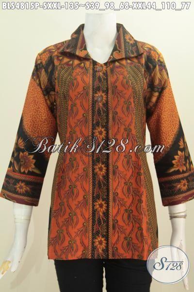 Batik Blus Elegan Untuk Wanita Tampil Mempesona, Busana Batik Jawa Halus Proses Printing Motif Sinaran Legan 7/8 Ukuran S Dan XXL