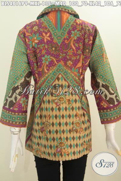 Baju Batik Klasik Wanita Muda Dan Dewasa, Pakaian Batik Elegan Motif Sinaran Proses Printing, Produk Baju Batik Cewek Terbaru Harga 135K, Size M – XL