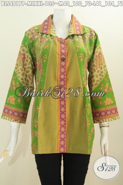 Blus Batik Solo Untuk Wanita Karir Desain Terkini Yang Lebih Mewah, Baju Batik Klasik Motid Sinaran Kwalitas Halus Bahan Adem Model Kerek Kotal Lengan Tujuh Perdelapan [BLS4817P-M]