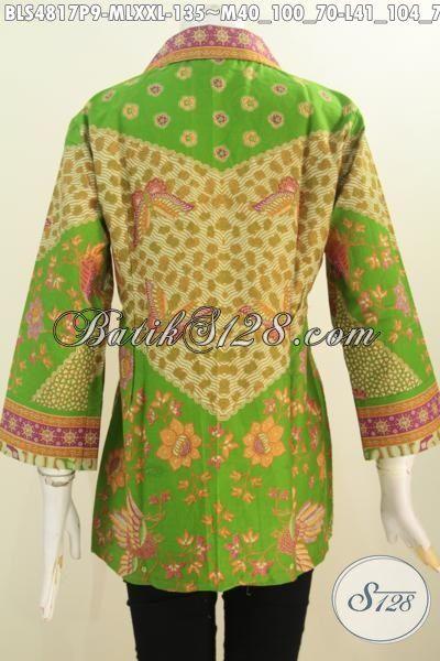 Blus Batik Klasik Lengan Tujugh Perdelapan Motif Sinaran, Pakaian Batik Istimewa Bahan Halus Proses Printing Buatan Solo Cocok Untuk Seragam Kerja, Size M – L – XXL