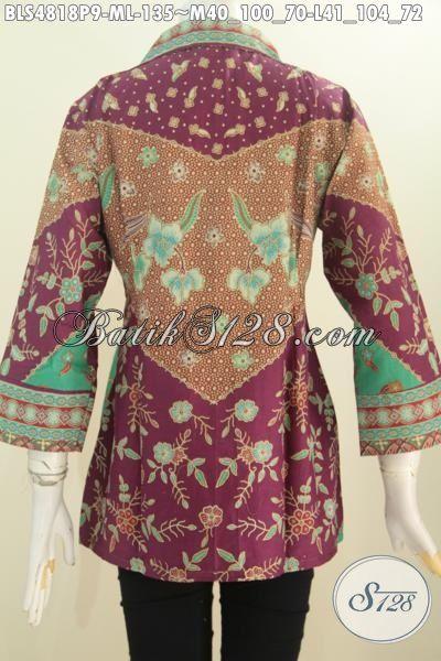 Pakaian Blus Batik Lengan 7/8, Busana Batik Elegan Motif Sinaran Berbahan Halus Proses Printing Model Terbaru harga 100 Ribuan, Size M – L