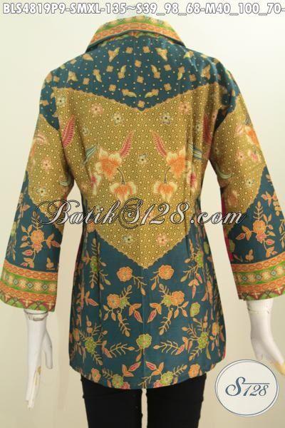 Pakaian Kerja Batik Untuk Wanita, Busana Batik Modis Halus Kwalitas Proses Printing Motif Sinaran Biki Wanita Lebih Mempesona, Size S – M – XXL