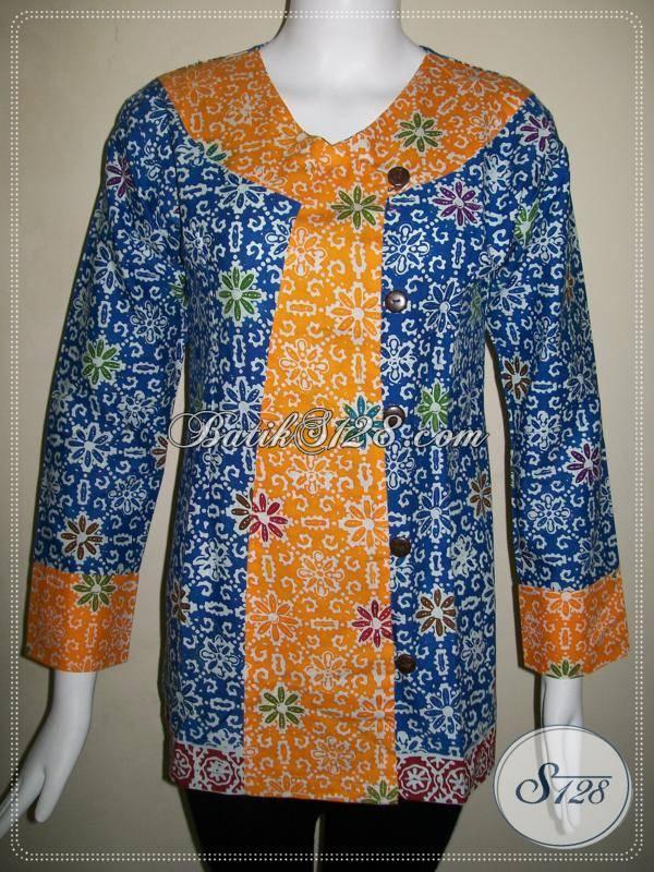 Baju Batik Kombinasi Dua Warna Cerah,Blus Batik Kerja Wanita Aktif ...