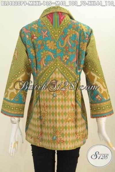 Toko Baju Batik Online Sedia Blus Wanita Bahan Batik Printing Motif Sinaran, Pakaian Batik Mewah Halus Harga Murah Meriah, Size M – XXL