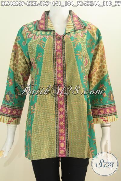 Busana Batik Elegan Halus Proses Printing Model Mewah, Baju Batik Klasik Solo Motif Sinaran Lengan Tujuh Perdelapan, Size L – XXL