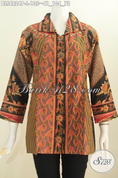Baju Batik Wanita Muda Dan Dewasa Size L, Produk Blus Batik Halus Berkelas Motif Sinaran Proses Printing Untuk Penampilan Lebih Modern Dan Gaya