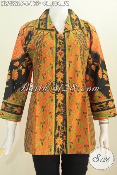 Batik Blus Istimewa Ukuran L, Pakaian Batik Istimewa Berbahan Halus Proses Printing Motif Sinaran Elegan Dan Mewah Untuk Kondangan