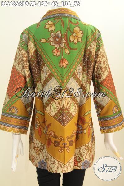Sedia Produk Baju Blus Klasik Motif Sinaran, Pakaian Batik Printing Halus Buatan Solo Lengan Tujuh Perdelapan Bahan Adem Yang Nyaman Di Pakai, Size XL
