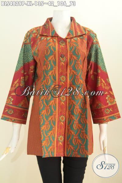 Baju Blus Halus Kwalitas Istimewa, Busana Batik Mewah Trend Mode Masa Kini, Baju Batik Lengan 7/8 Motif Sinaran Proses Printing Tampil Lebih Elegan, Size XL