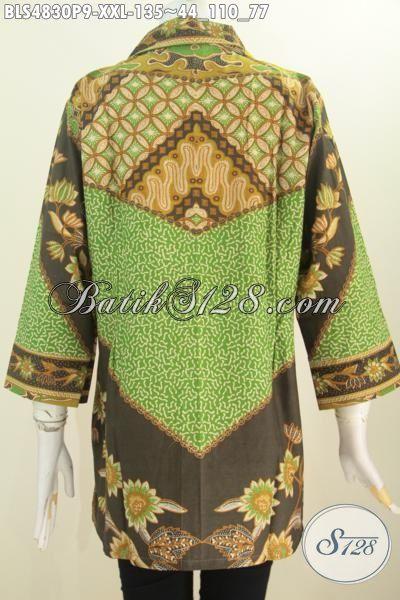 Toko Online Produk Batik Terlengkap, Sedia Blus Batik Klasik Kerah Kotak Baju Formal Untuk Kerja Dan Rapat Motif Sinaran Proses Printing Ukuran Jumbo Untuk Wanita Gemuk Hanya 100 Ribuan [BLS4830P-XXL]