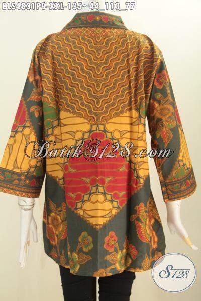 Baju Blus Klasik Istimewa Dan Mewah, Produk Pakaian Batik Masa Kini Desain Berkelas Proses Printing Bahan Halus Untuk Wanita Gemuk Penampilan Lebih Istimewa, Size XXL