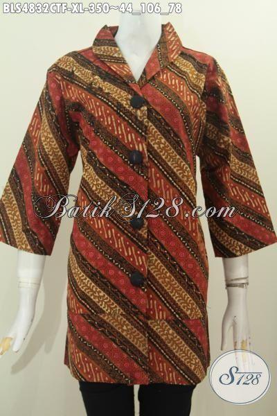 Baju Blus Batik Formal Wanita Dewasa, Pakaian Batik Elegan Bahan Halus Proses Cap Tulis Motif Parang Klasik Pakai Furing Tricot [BLS4832CTF-XL]
