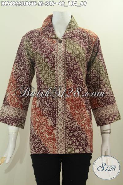 Produk Pakaian Blus Batik Berbahan Halus Kain Doby, Busana Batik Elegan Bahan Adem Proses Cap Tulis Di Lengkapi Daleman Furing Tricot Untuk Penampilan Lebih Mewah, Size M