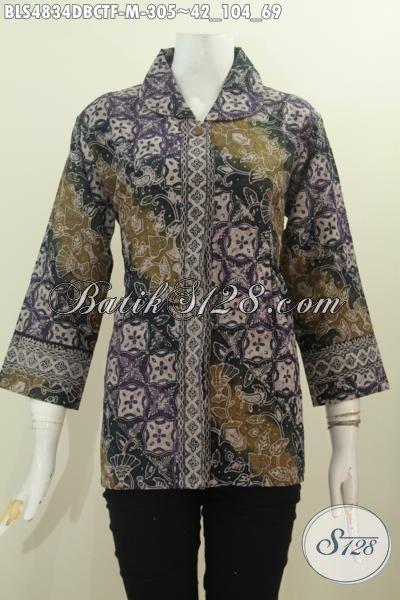 Jual Online Pakaian Batik Wanita Ukuran M, Busana Batik Halus Proses Cap Tulis Kwalitas Mewah, Berbahan Adem Bahan Kain Doby Dengan Dalem Tricot, Size M