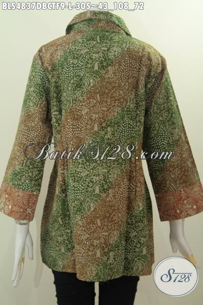 Busana Batik Elegan Halus Proses Cap Tulis Bahan Kain Dolby, Baju Batik Istimewa Buatan Solo Full Furing Desain Mewah harga 300 Ribuan, Size L
