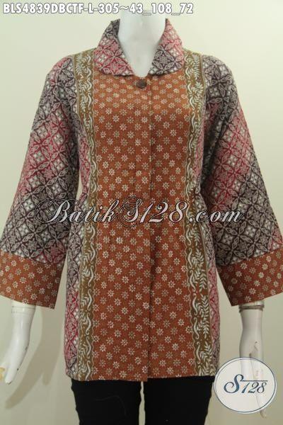 Baju Batik Lengan Tiga Perempat Bahan Halus Kain Doby Ukuran L, Busana Batik Kwalitas Istimewa Trend Mode Masa Kini Proses Cap Tulis Di Lengkapi Furing Tricot