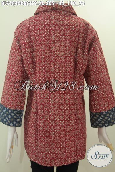 Pakaian Batik Blus Wanita Dewasa, Bahan Halus Kain Doby Desain Mewah Motif Trendy Proses Cap Tulis Ukuran XL