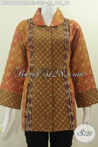 Produk Baju Batik Kwalitas Premium, Busana Batik Elegan Halus Proses Cap Tulis Bahan Kain Doby Full Furing Tricot Bikin Penampilan Terlihat Berkelas, Size XL