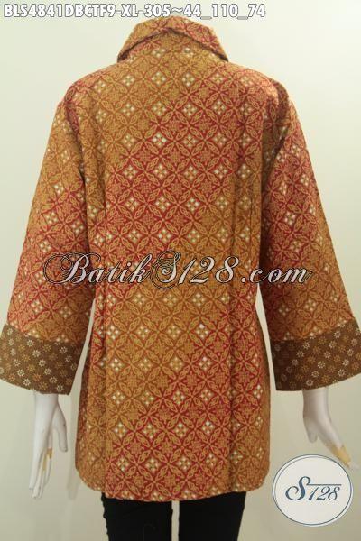 Di Jual Online Baju Blus Batik Berbahan Kain Dolby Nan Istimewa, Pakaian Batik Modis Motif Mewah Proses Cap Tulis Daleman Furing Tricot Harga 305K [BLS4841DBCTF-XL]
