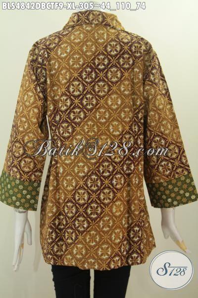 Pakaian Batik Elegan Desain Formal Bahan Kain Dolby, Baju Blus Istimewa Buatan Solo Harga 300 Ribuan Motif Berkelas Proses Cap Tulis Pake Furing Tricot, Size XL