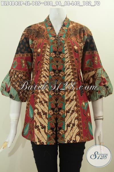 Baju Blus Kerah Kartini Motif Klasik Proses Printing, Pakaian Batik Modis Bahan Adem Tidak Pakai Furing Cocok Buat Seragam Kerja Kantoran, Size S – L