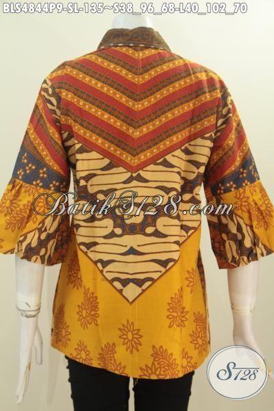 Online Shop Baju Batik Wanita Paling Up To Date, Jual Blus Klasik Model Kerah Kartini Kancing Depan Motif Sinaran Proses Printing, Size S – L