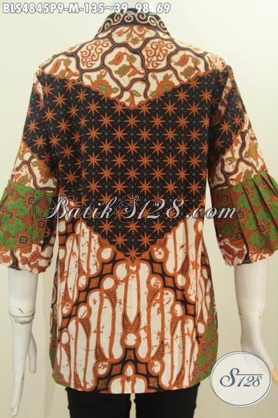 Baju Batik Elegan Berbahan Halus Motif Sinaran Proses Printing, Pakaian Batik Jawa Model Kerah Kartini Kancing Depan Istimewa Untuk Seragam Kerja [BLS4845P-M]