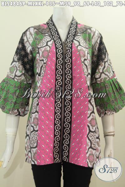 Busana Blus Batik Motif Klasik Sinaran Proses Printing, Baju Batik Elegan Model Kerah Kartini Kancing Depan Di Jual Online Harga Grosir, Size M – L – XXL