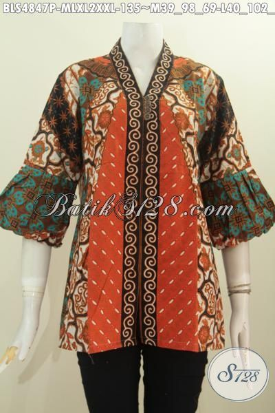 Pakaian Kerja Wanita Karir Berbahan Halus Proses Printing Motif Sinaran, Busana Batik Elegan Model Formal Kerah Kartini Untuk Tampil Anggun Dan Cantik, Size M – L – XL – XXL