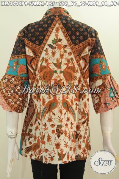 Blus Batik Klasik Motif Sinaran, Pakaian Batik Printing Model Kerah Kartini Kancing Depan Bahan Adem Proses Printing Hanya 135K, Size S – M – L – XL