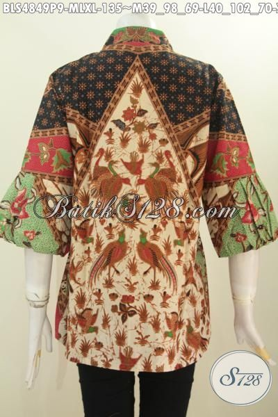 Toko Baju Batik Online Paling Lengkap, Sedia Blus Kerah Kartini Kancing Depan Motif Sinaran Proses Printing Bahan Adem Hanya 100 Ribuan, Size M – L – XL