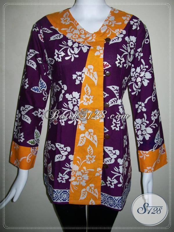 Baju Batik Murah Dan Bagus,Blus Batik Berkwalitas Model Pramugari [BLS484C-M]