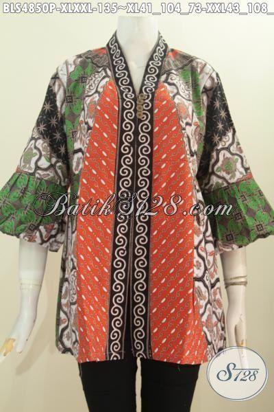 Blus Batik Formal Motif Klasik Model Kerah Kartini Kancing Depan, Busana Batik Elegan Berkelas Proses Printing Bahan Adem Untuk Tampil Lebih Istimewa, Size XL – XXL