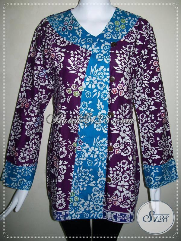 Baju BAtik Wanita Model Batik Pramugari,Blus Batik Kantor Untuk Wanita Modern [BLS487C-XL]