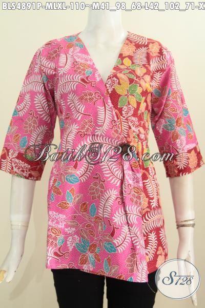 Blus Batik Dual Warna Untuk Wanita, Pakaian Batik Model Kimono Desain Trendy Motif Unik Proses Printing Hanya 110K, Size M – L – XL
