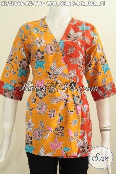 Blus Batik Kuning Kombinasi Orange, Pakaian Batik Modis Dan Halus Proses Printing Model Kimono Cocok Buat Santai Dan Hangout, Size M – L