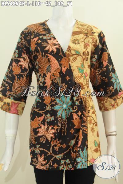 Jual Baju Batik Kimono Bahan Adem Motif Elegan Dual Warna, Busana Batik Printing Khas Tampil Mewah Harga Murah, Size L