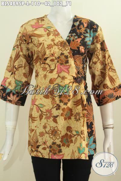 Produk Terkini Pakaian Blus Batik Model Kimono, Busana Batik Elegan Halus Proses Printing Berbahan Halus Untuk Tampil Terlihat Mempesona, Size L