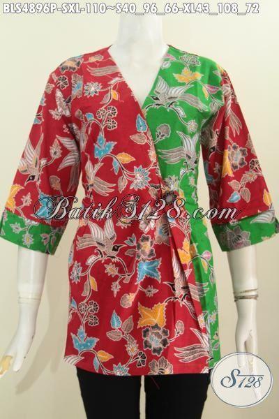 Baju Blus Batik Merah Kombinasi Hijau Model Kimono Motif Terbaru, Pakaian Batik Wanita Proses Printing Yang Cocok Buat Kerja Dan Jalan-Jalan, Size S – XL