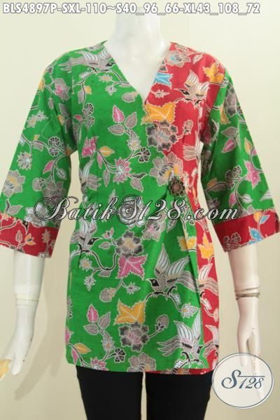 Batik blus Kimono Dengan Kombinasi Warna Cerah Yang Membuat Wanita Terlihat Cantik Dan Fresh, Pakaian Batik Perempuan Masa Kini Berbahan Halus Motif Printing Harga 110K, Size S – XL
